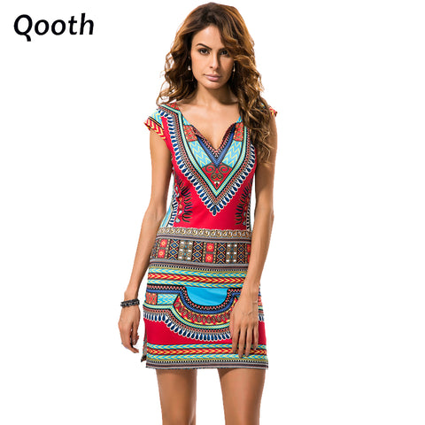 36a24b39d0 2017 Summer Women Vintage Ethnic Dress Brand Baroque Style Deep V-Neck  Floral Print Casual