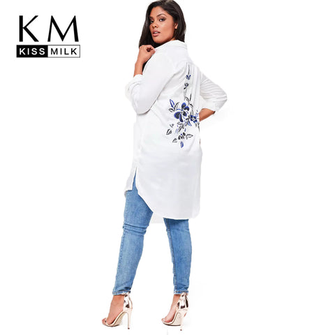 74da59ca765 kissmilk 2018 Plus Size Solid White Women Blouses Floral Embroideried Long  Sleeve Female Clothing Casual Lady