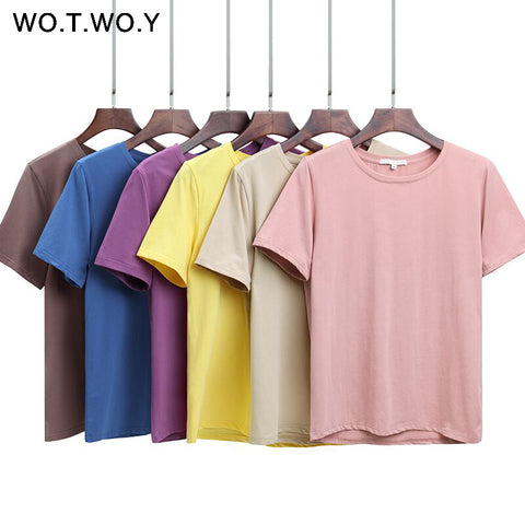 cba07acf5cf1d WOTWOY 2018 Summer Cotton T Shirt Women Loose Style Solid Tee Shirt Female  Short Sleeve Top