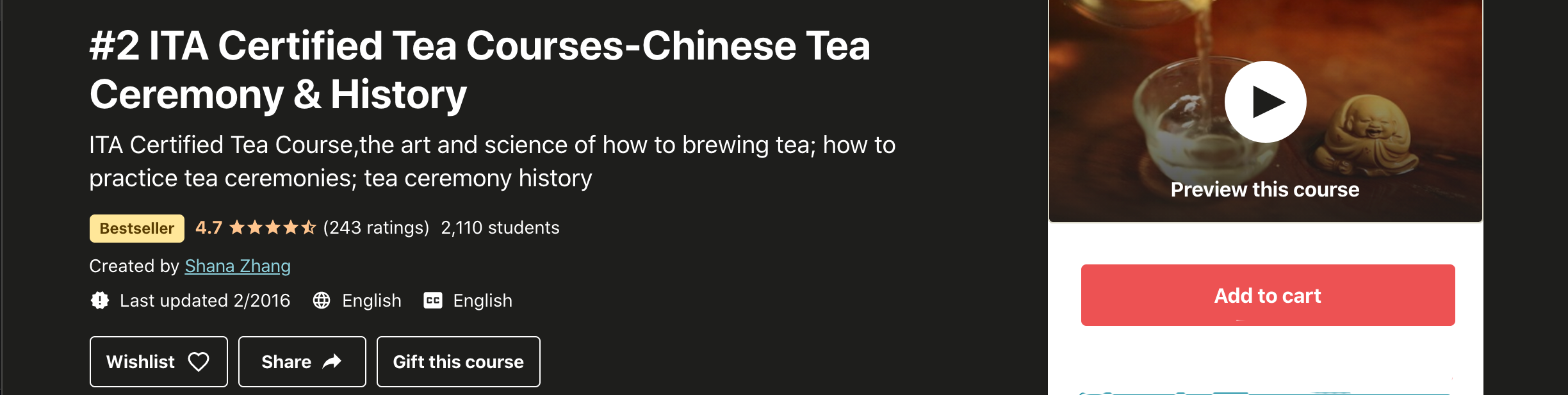 #2 ITA Certified Tea Courses-Chinese Tea Ceremony & History