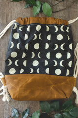 Childrens Waxed Canvas Backpack with Moon Phase Print - Burst into Bloom
