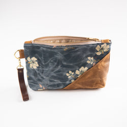 Waxed Canvas Wristlet in Woodland Floral