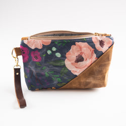 Waxed Canvas Wristlet in Peony - Burst into Bloom