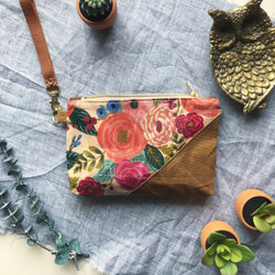 Rifle Paper Co Waxed Canvas Wristlet - Burst into Bloom