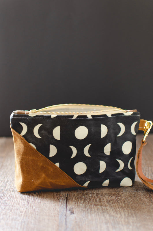 Moon Phase Waxed Canvas Wristlet - Burst into Bloom