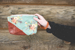 Watercolor Waxed Canvas Wristlet - Burst into Bloom