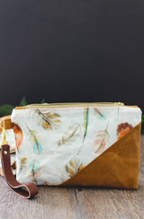 Boho Feather Waxed Canvas Wristlet - Burst into Bloom