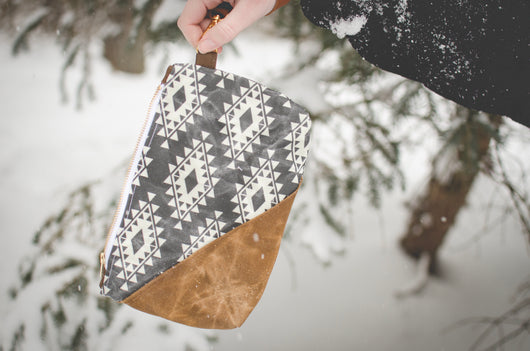 Waxed Canvas Aztec Wristlet in black and white - Burst into Bloom