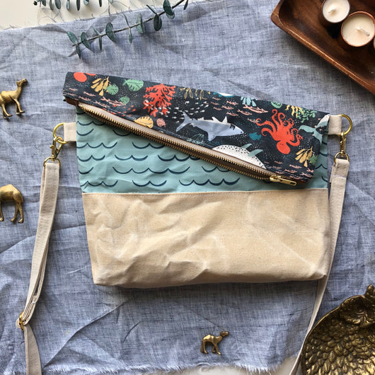 Duo Sided Waxed Canvas Crossbody in Sea Creatures - Burst into Bloom