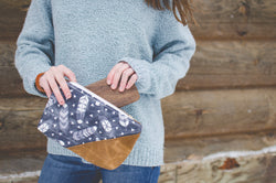 Feather Waxed Canvas Wristlet in blue - Burst into Bloom