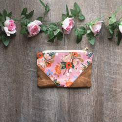 Rifle Paper Co Waxed Canvas Bag in Pink Floral - Burst into Bloom