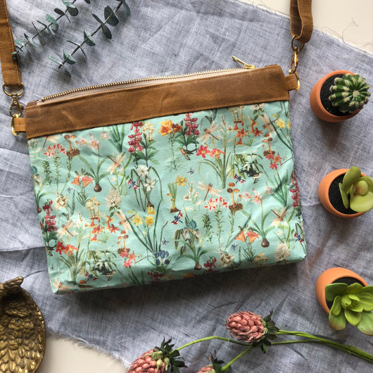 Waxed Canvas Crossbody in Botanical Floral - Burst into Bloom