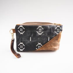 Waxed Canvas Wristlet in Black and Cream - Burst into Bloom