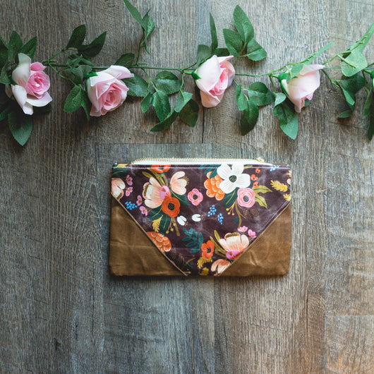 Rifle Paper Co Waxed Cotton pouch in Red Floral - Burst into Bloom