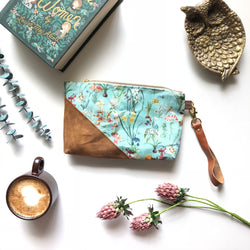 Botanical Floral Waxed Canvas Wristlet - Burst into Bloom