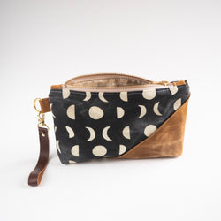 Waxed Canvas Wristlet in Moon Phases