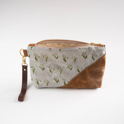 Waxed Canvas Wristlet in Lily of the Valley - Burst into Bloom