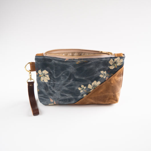 Spring Cleaning Waxed Canvas wristlet in Woodland Floral
