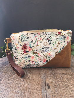 Folk Fable Waxed Canvas Wristlet - Burst into Bloom