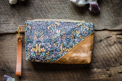 Rifle Paper Co Purse with Waxed Cotton Menagerie print - Burst into Bloom