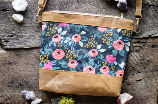 Rifle Paper Co Rosa in Navy Waxed Canvas Crossbody Bag