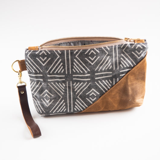 Spring Cleaning Mudcloth Waxed Canvas wristlet in Gray