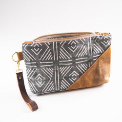 Waxed Canvas Wristlet in Gray Mudcloth - Burst into Bloom