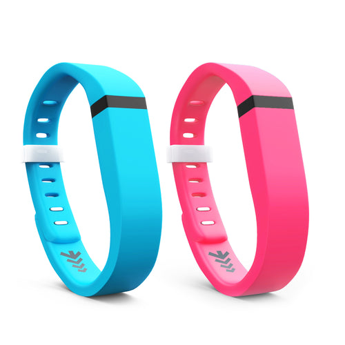 Fitbit Flex Bands - Light Blue & Pink 2 Pack, Small and Large Sizes.