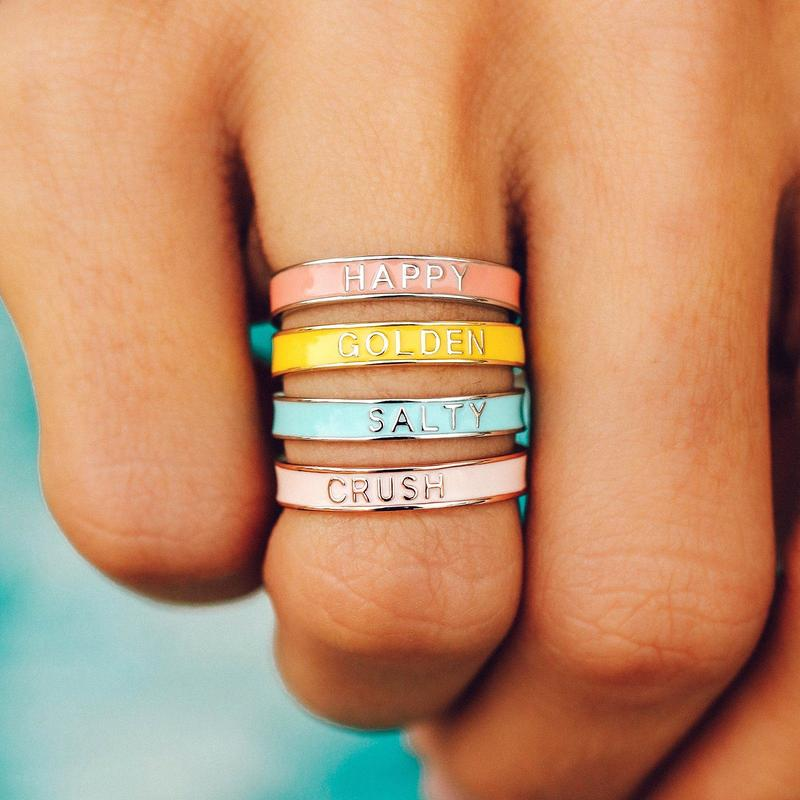 The Happy Enamel Word Ring
