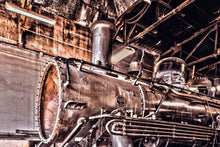 Steam Train Repair Garage Picture Art Photograph Print on Canvas Classic Steampunk Train Photo