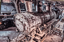 Steam Train Picture Art Photograph Print on Canvas Classic Steampunk Train Garage Photo