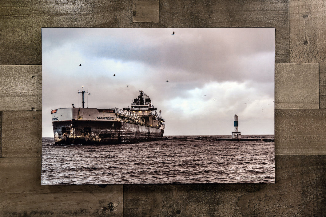 Lake Michigan Manitowoc Ship Wall Hanging Art Photograph Print on Canvas Boat Photo