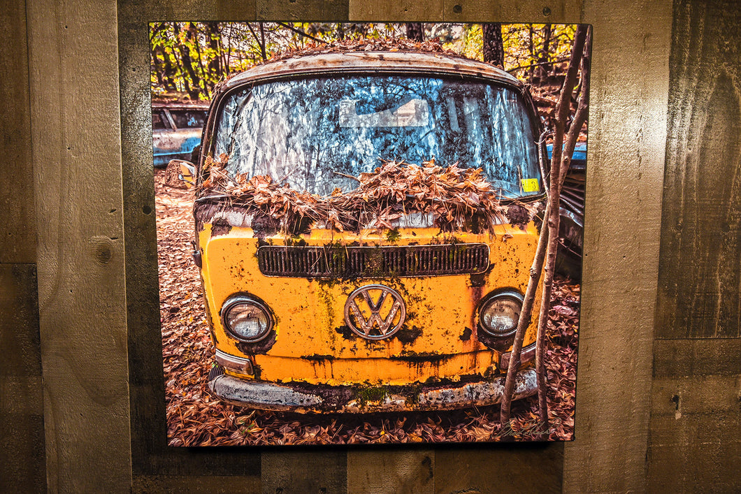 VW Volkswagen Yellow Bus Art Photograph Print on Canvas