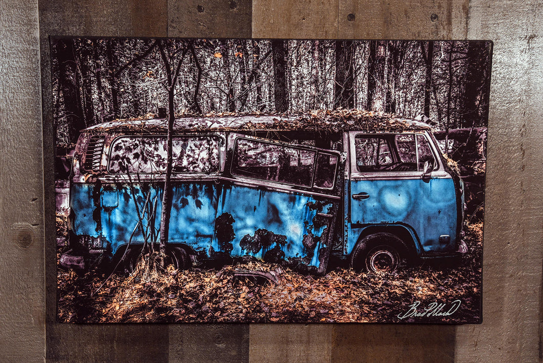 VW Volkswagen Blue Bus Art Photograph Print on Canvas