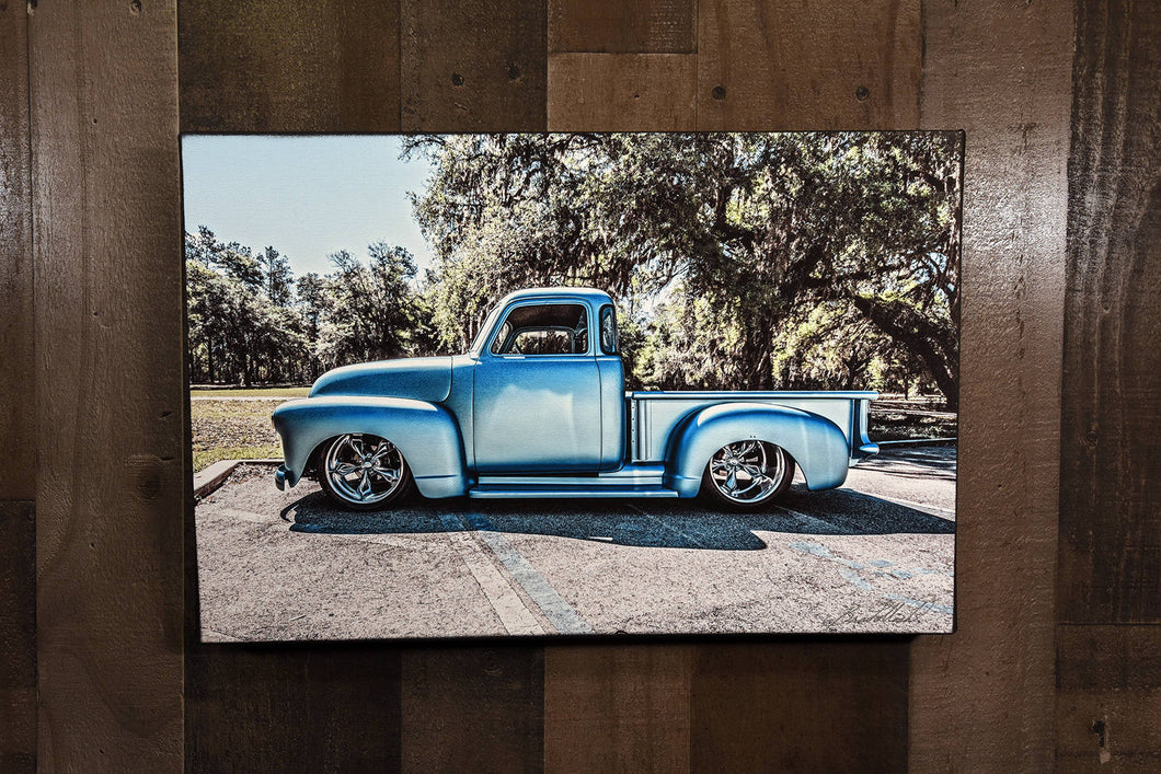 Old Car Picture Hot Rod 1948 Chevrolet Truck Wall Hanging Art Photograph Print on Canvas Classic Car Photo