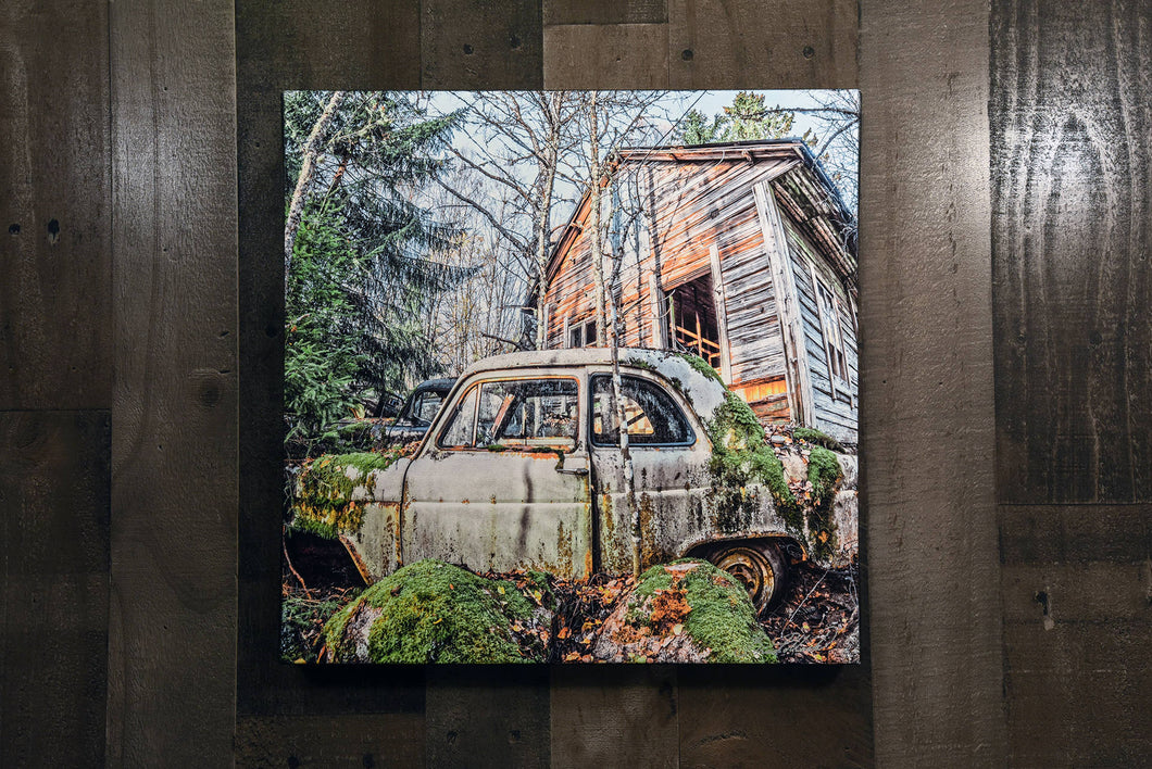 Mossy Sweden Forest European Old Car and Barn Wall Hanging Art Photograph Print on Canvas