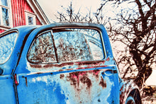 Old Car Picture Volkswagen VW Blue Beetle and Barn Wall Hanging Art Photograph Print on Canvas Classic Car Photo