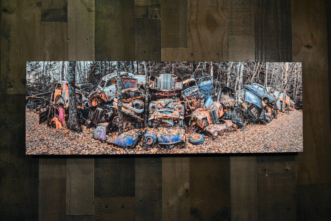Old Cars Picture European Junkyard Classic Cars Wall Hanging Art Photograph Print on Canvas Classic Car Photo