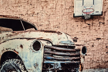 Old Chevy Truck with Basketball Hoop Picture 1949 Chevrolet Pickup Wall Hanging Art Photograph Print on Canvas Classic Car Photo