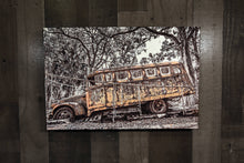 Old School Bus Wall Hanging Picture Art Photograph Print on Canvas Classic Car Photo