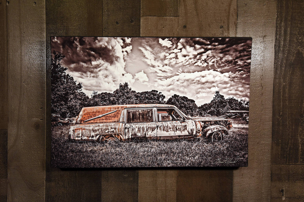 Classic Car Picture Cadillac Hearse Wall Hanging Art Photograph Print on Canvas