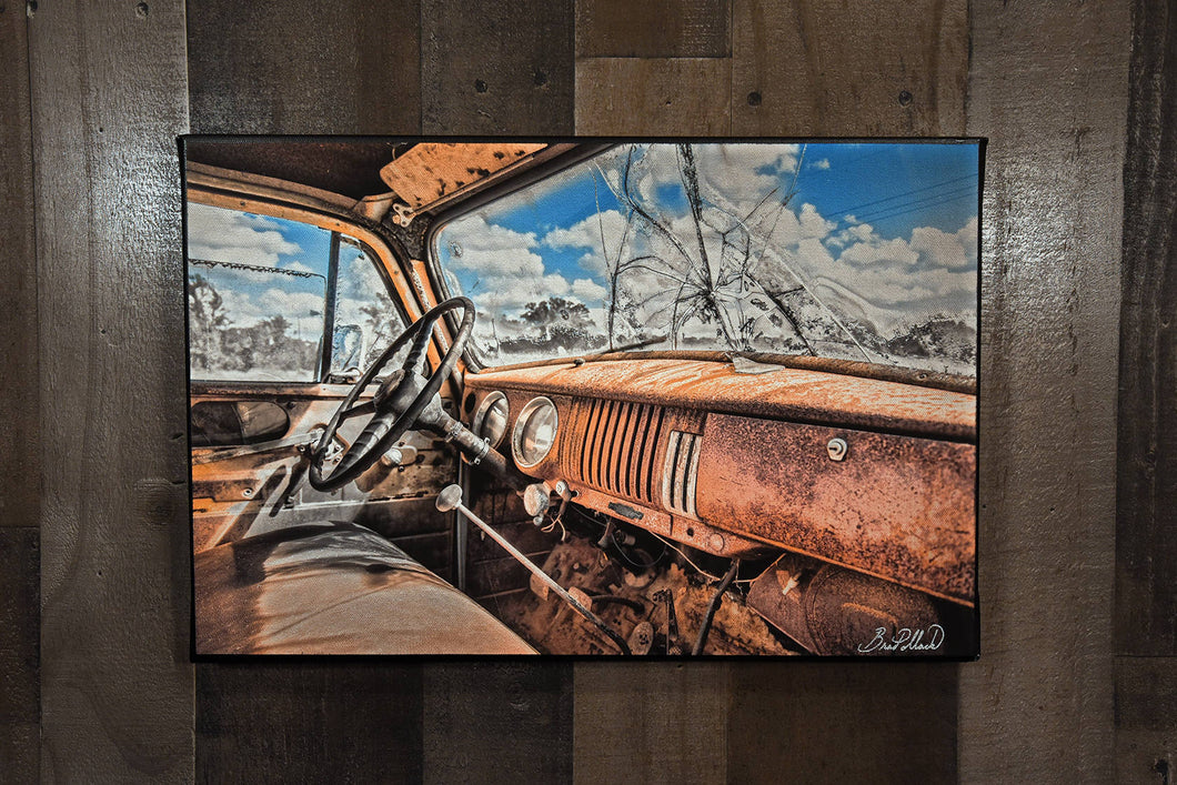 1954 Chevrolet Pickup Interior Art Photograph Print on Canvas