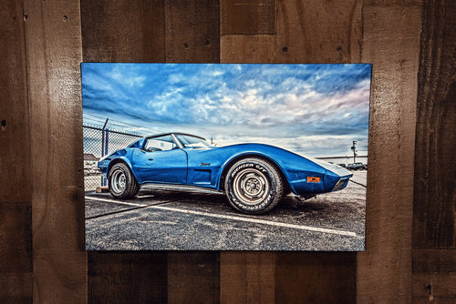 Classic Car Picture Chevrolet 1973 Blue Corvette Stingray Wall Hanging Art Photograph Print on Canvas Old Car Photo