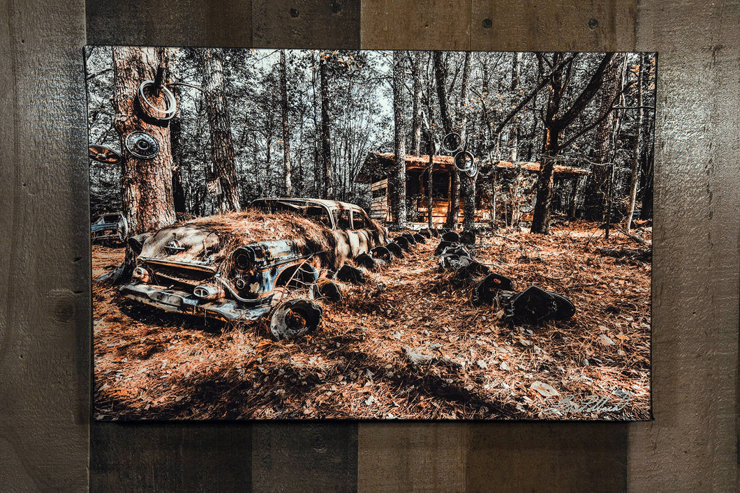 Old Car Picture 1954 Oldsmobile Art Wall Hanging Photograph Print on Canvas Classic Car Photo