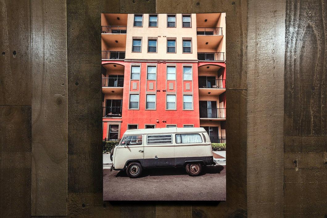 Classic Car Picture VW Volkswagen Tan Bus Wall Hanging Art Photograph Print on Canvas