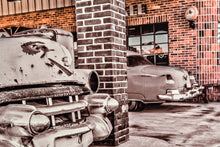 Old Car Picture 1953 Cadillac in Texaco Gas Station Wall Hanging Art Photograph Print on Canvas