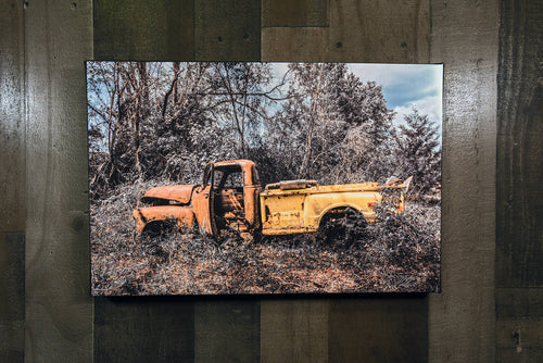 Chevy Picture 1951 Stepside Pickup Truck Art Photograph Print on Canvas Junkyard Car Photo