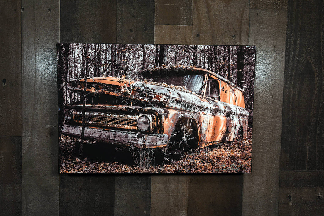Old Chevy Picture 1964 Chevrolet Suburban Truck Wall Hanging Art Photograph Print on Canvas Classic Car Photo