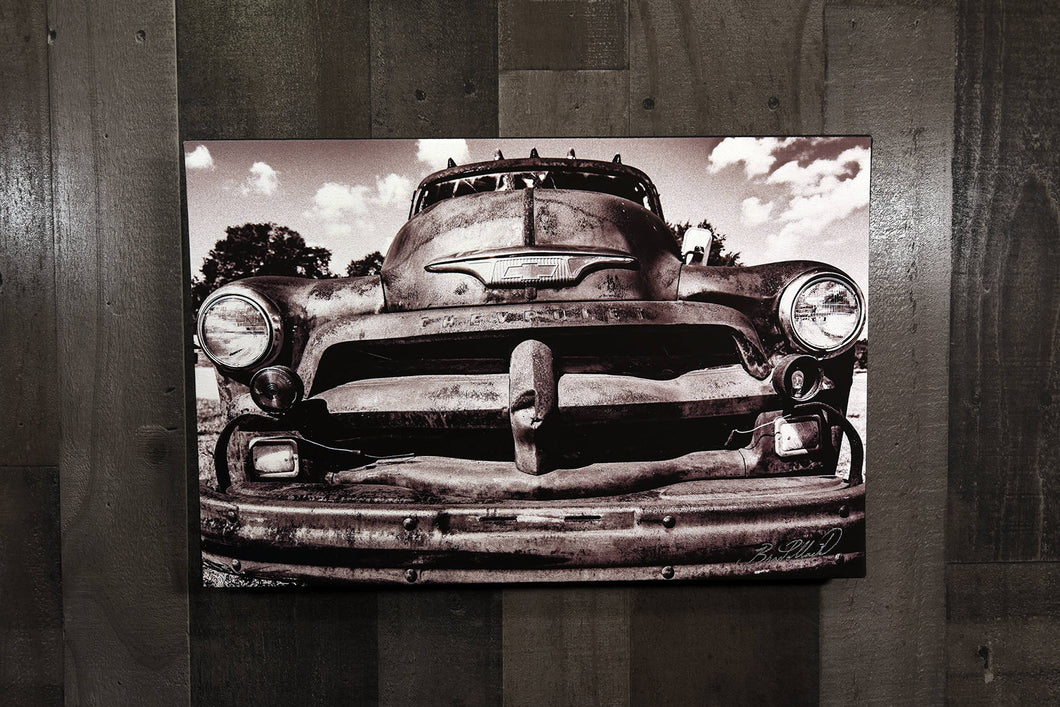 Old Car Picture 1954 Chevrolet Truck Wall Hanging Art Photograph Print on Canvas Classic Car Photo
