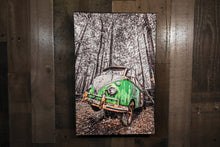 Classic Car Picture VW Volkswagen Green Bus Wall Hanging Art Photograph Print on Canvas